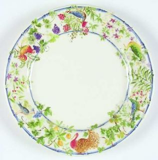Gien Villa Medicis Dinner Plate, Fine China Dinnerware   Fruit,Flowers,Birds,Red