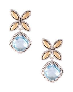Batu Kawung Blue Topaz Drop Earrings