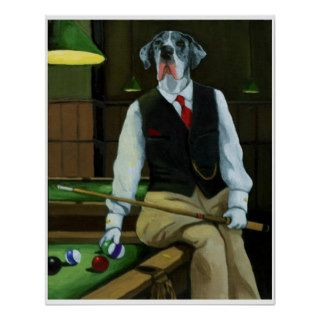 Dogs Playing Pool   Great Dane Poster