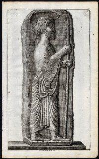 Antique Print STATUE PERSEPOLIS IRAN PERSIA STAIRS Pl. 142 De Bruyn 1718   Etchings Prints