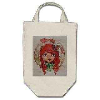 Big eyed girl rode head, fox girl, cute enchanted tote bags