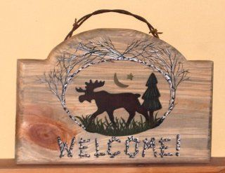 Moose Welcome Sign/plaque with Barbed Wire Hanger   Acrylic Paintings
