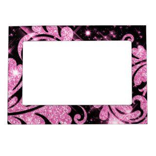 Elegant Faux Pink Glitter Floral Swirl Frame Magnet
