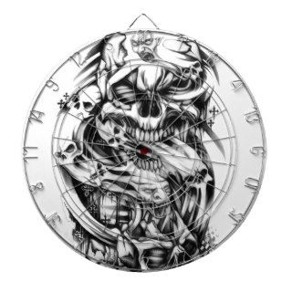 Evil skull tattoo style art. Sin and smoke skulls. Dartboard