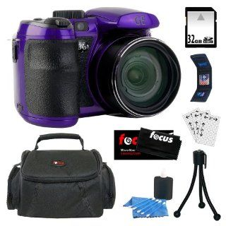 GE PRO X550 16MP Digital Camera with 15x Optical Zoom and 2.7 inch LCD in Purple + 32GB SDHC + Carrying Case + Accessory Kit  Point And Shoot Digital Camera Bundles  Camera & Photo