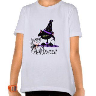 Happy Halloween Black Witch Cat Shirt