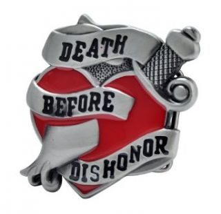 Death Before Dishonor Belt Buckle Painted Metal Cool Heart Unique Hip New: Clothing