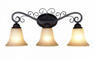 Trans Globe Lighting 21043 ROB Three Light Garland Bathroom Fixture from the New Century Collection, Rubbed Oil Bronze   Vanity Lighting Fixtures