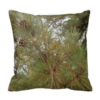 Pine Cones on Tree Between Redwood Trees Pillow