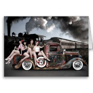 FuelFoto   Choo Choo Hot Rod Pin Up Greeting Card