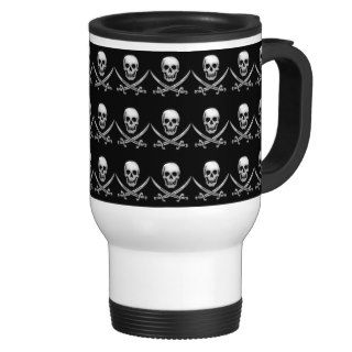 Glassy Pirate Skull & Sword Crossbones Mug