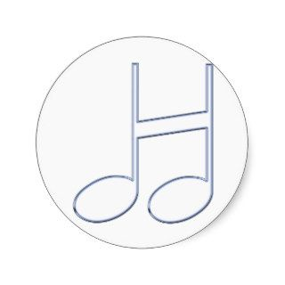 """English Letter """"H""""  Created Musical Notes Round Stickers"""