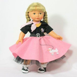Fabulous 50's Pink Poodle Skirt Costume 18 Inch Doll Clothes/clothing Fits American Girl doll Toys & Games