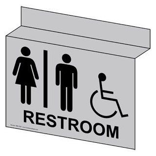 ADA Restroom With Symbol Sign RRE 7030Ceiling BLKonSLVR Restrooms  Business And Store Signs