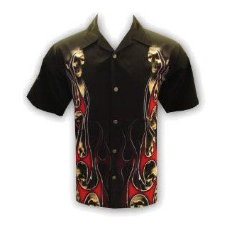 Skulls in Flames Biker Shirt, Purgatory, Dragonfly (3xl) Novelty T Shirts Clothing