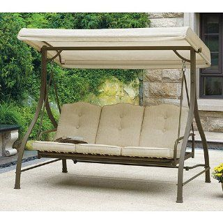 Outdoor Swing / Hammock, Tan, Seats 3. Porch & Patio Swings Give Extra Seating & Style to Your Outdoor Living Space. This Porch Swing with Canopy Includes a Powder coated Steel Frame. Make This Outdoor Swing an Beautiful Addition to Your Patio.  P