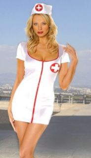 Naughty Nurse Costume Sexy Mini Dress and Hat Clothing