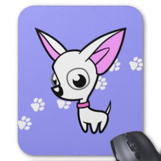 Cartoon Chihuahua (white) Mouse Pads