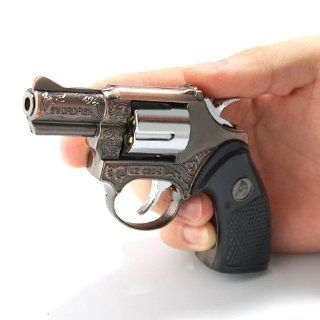 Military Tactical Etched .357 Magnum Rotating Revolver Brass Pistol Gun Cigarette Cigar Smoking Pipe Butane Torch Jet Flame Lighter   Fire Starters