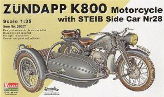 Vulcan Scale Models 1/35 Zundapp K800 Motorcycle with STEIB Nr28 Sidecar Kit Toys & Games