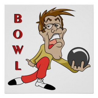 funny bowling man cartoon character posters