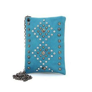 HPW   Women's Mini Rhinestone Studded Messenger Bag w/ Long Chain Strap   Turquoise Color Turquoise
