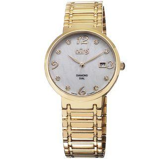 Burgi Ladies Goldtone Swiss Quartz Stainless Steel Diamond dial Bracelet Watch Burgi Women's Burgi Watches