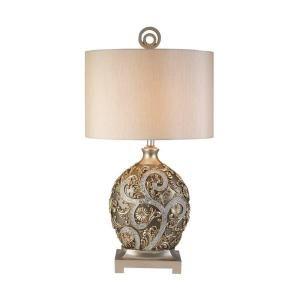 OK LIGHTING 12.25 in. Antique Brass Silver Vine Table Lamp OK 4232T