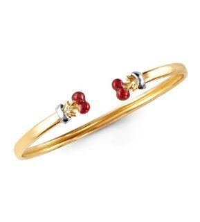 14k Yellow Gold Red Cherries Baby Child Bangle Bracelet: Jewelry