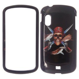 Samsung Stratosphere i405   Verizon Pirate Skull Swords and Fish on Black Plastic Case, SnapOn, Protector, Cover: Cell Phones & Accessories