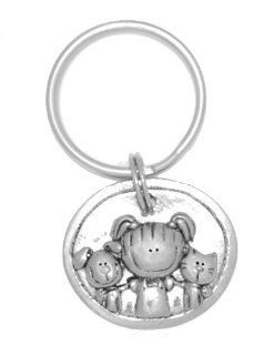 Clayvision Little Girl, Dog, & Cat Oval Pendant Key Chain: Jewelry