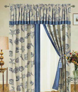 Seashell Drapery Panel w/ Tassels / Sheers Curtain Set   Window Treatment Curtains