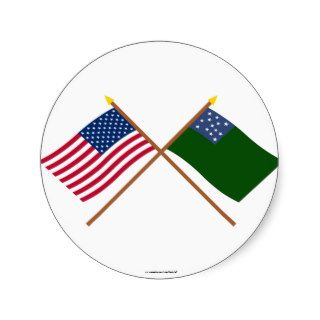 Crossed US and Green Mountain Boys Flags Round Stickers