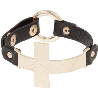 Heirloom Finds Big Metal Sideways Cross Black Leather Bracelet Gold Tone Adjustable Hammered Gold Cross Black Bracelet Jewelry