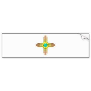 Zia sun   Zia Pueblo   strength symbol Bumper Stickers