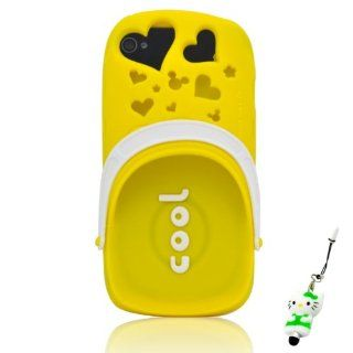 I Need(TM) Stylish 3D Yellow Cartoon Mickey Mouse Head & Hearts Openwork Slipper Style Fragrant Soft Silicone Case Cover Compatible For Apple Iphone 4/4g/4S With 3D Kitty Stylus Pen Perfect Gift Electronics