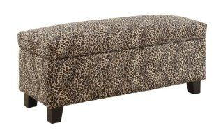 HOMELEGANCE 471LP Leopard Print Lift top Storage Bench/Ottoman   Benches For Living Room