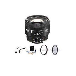Nikon 85mm f/1.8D AF Telephoto Nikkor Lens with Hood   Gray Market   with   Bundle   Pro Optic Pro Digital 62mm Multi Coated UV Filter. Pro Optic Pro 62mm Circular Polarizer (CPL Digital Filter. Lens Cap Leash, Professional Lens Cleaning Kit  Camera And C