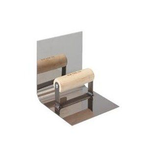 Bon 12 474 6 Inch by 6 Inch Stainless Steel Base Tool with 1 Inch Lip and 6 Inch Radius Wood Handle   Masonry Floats