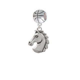 2 D Large Classic Horse Head Basketball Charm Dangle Bead Jewelry