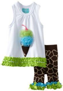 Mud Pie Wild Child Giraffe Tunic And Capri, Brown/White, 12 18 Months Clothing