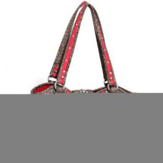 Women's Western Rhinestone Studded Shoulder Bag w/ Croco Trim & Buckle Accent   Red/TaupeTI 60685 RD/ST Clothing