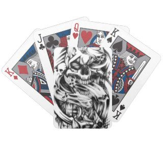 Evil skull tattoo style art. Sin and smoke skulls. Bicycle Poker Deck