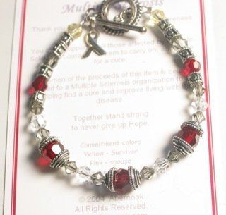 Multiple Sclerosis Awareness Bracelet, Pink  Spouse: Jewelry