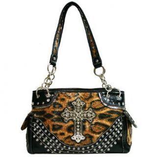 Western Rhinestone Studed Cross Sign Should Bag   Leopard/Black Shoulder Handbags Shoes