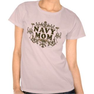 Navy Mom Vintage Gold Filigree Shirt