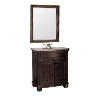 Celeste 31 in. W x 20.25 in. D Basin Vanity in Java with Hand Crafted Stone Vanity Top in Cocoa & Mirror DISCONTINUED PPM30 JAV