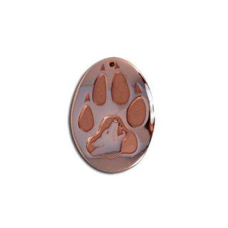 Copper Wildlife Wolf Print Pendant. Made in USA. Barry Burger Jewelry