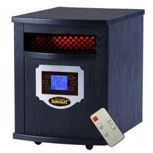 SUNHEAT 1500 Watt Infrared Electric Portable Heater with Remote Control, LCD Display and Cabinetry   Black 400210020