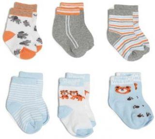 Rising Star Baby boys Newborn Bear Socks, Orange/Light Blue, 3 12 Months: Clothing